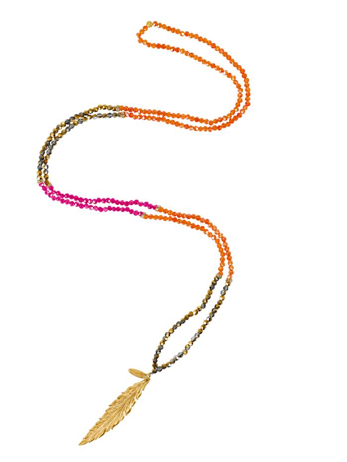 Style Heaven Halskette mit Blatt-Anhänger, Pink/Orange/Gelbgoldfarben
