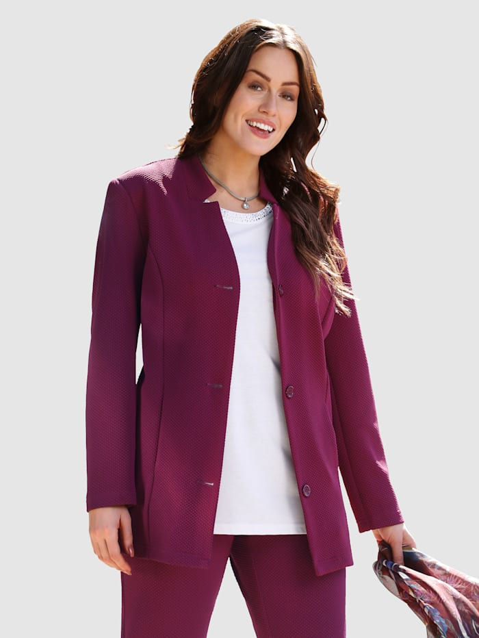 m. collection Jerseyblazer in elastischem Materialmix, Aubergine