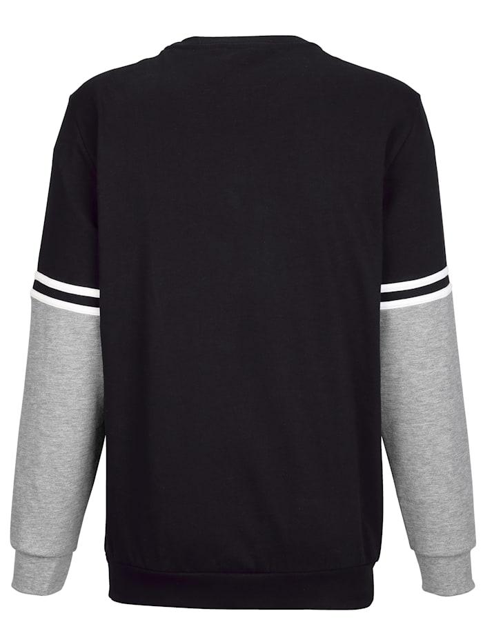 Sweatshirt Contraststrepen op de mouwen