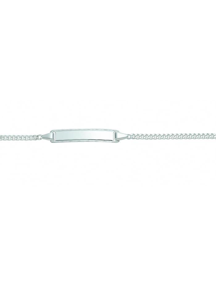 1001 Diamonds Damen Silberschmuck 925 Silber Flach Panzer Armband 18,5 cm Ø 2,1 mm, silber