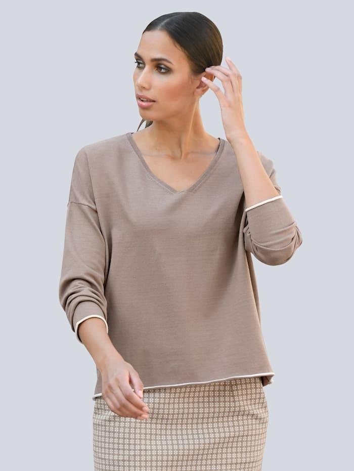 Alba Moda Trui met contrastkleurige strepen achter, Camel/Offwhite