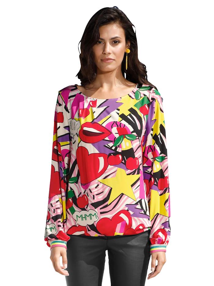 AMY VERMONT Shirt met moderne print, Rood/Geel/Pink/Zwart