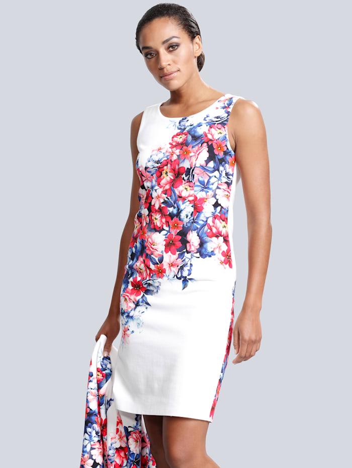 Alba Moda Robe Imprimé floral devant et dos, Blanc/Rouge/Bleu