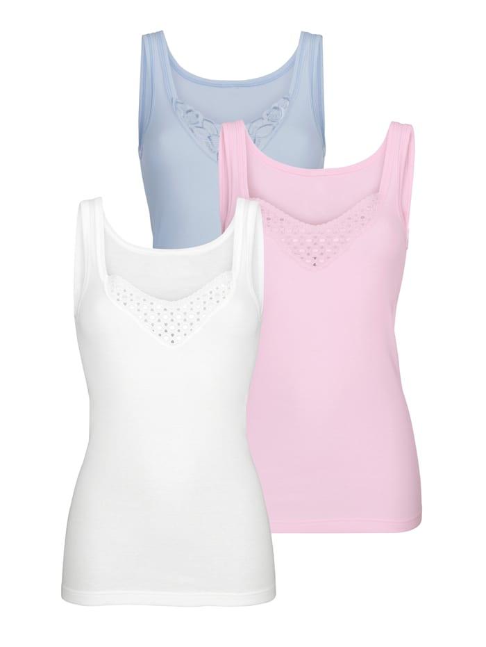 Harmony Achselhemden aus dem Cotton made in Africa Programm, Weiß/Rosé/Hellblau