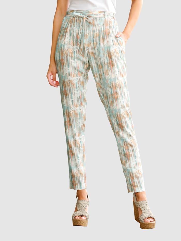 Laura Kent Dra-på-bukse med trykt mønster, Ecru/Aprikos