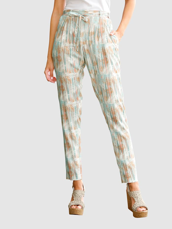 Laura Kent Kalhoty s módním potiskem, Ecru/Meruňka