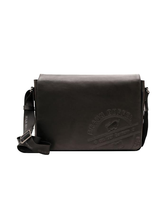 Braun Büffel Messenger Bag Parma LP mit markanter Logoprägung, schwarz