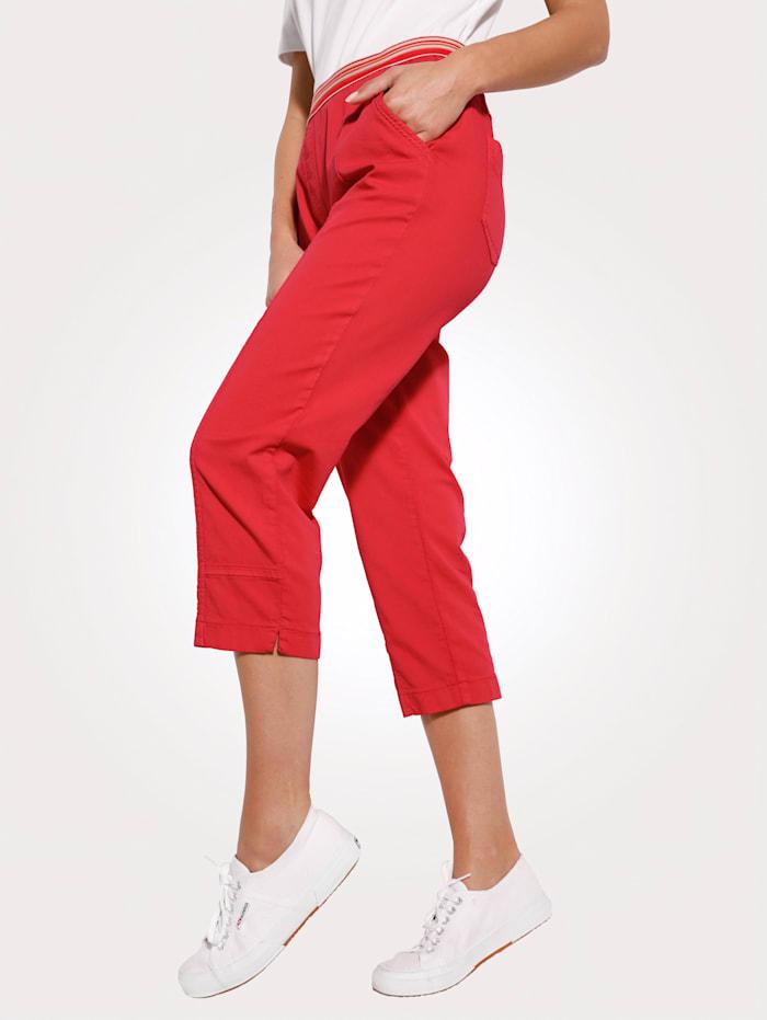 Toni 3/4-broek met gekleurde elastische band, Rood
