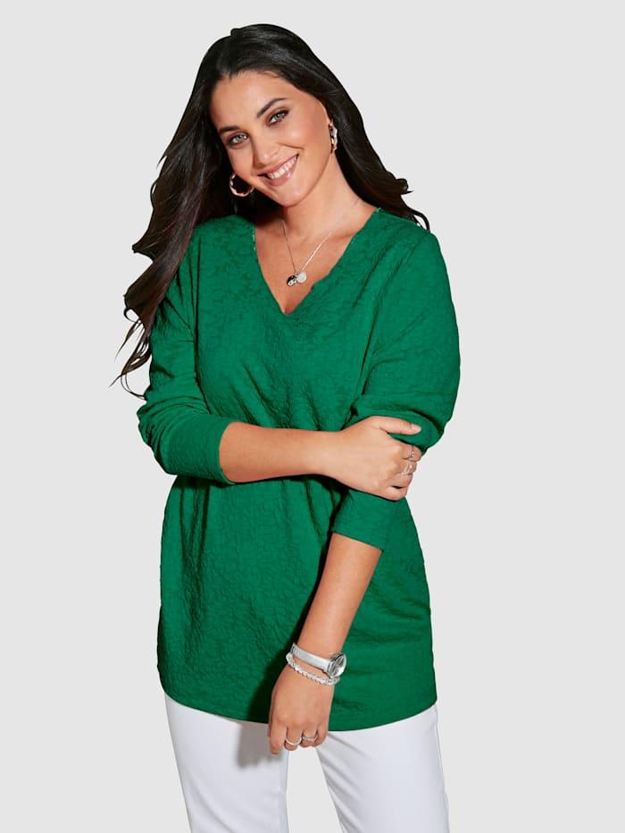 MIAMODA Sweatshirt av material med struktur, Grön