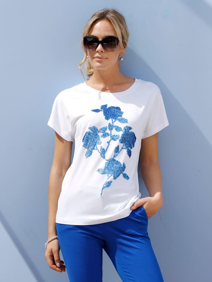 AMY VERMONT Shirt mit Pailletten im Vorderteil, Weiß/Blau