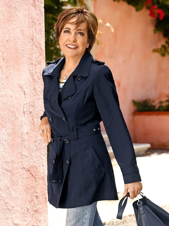 Paola Trenchcoat mit gestreiftem Futter, Marineblau