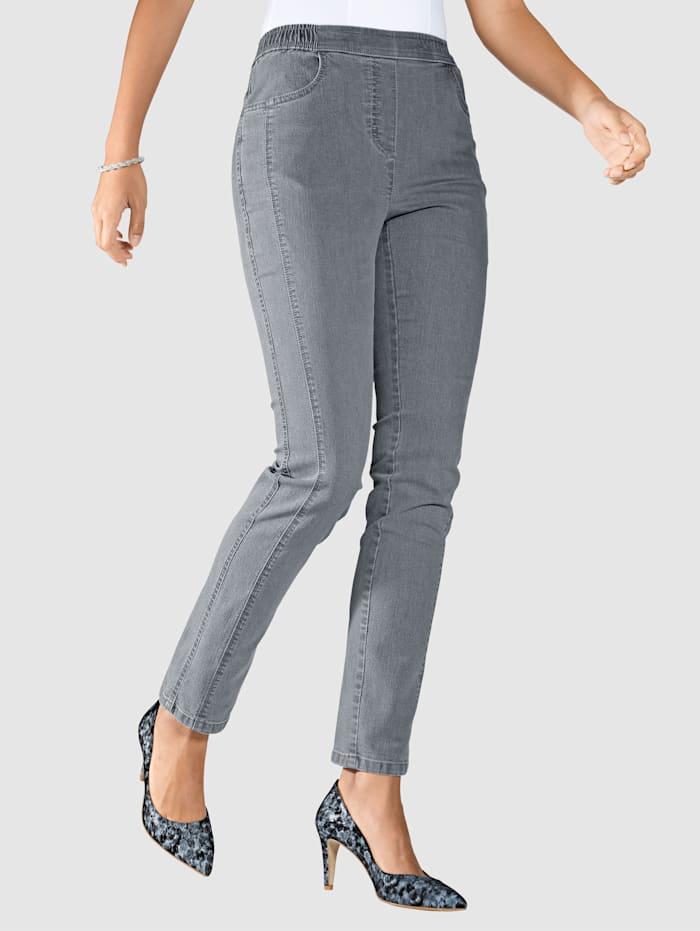 m. collection Jeans med stenar och broderi på bakfickorna, Grå