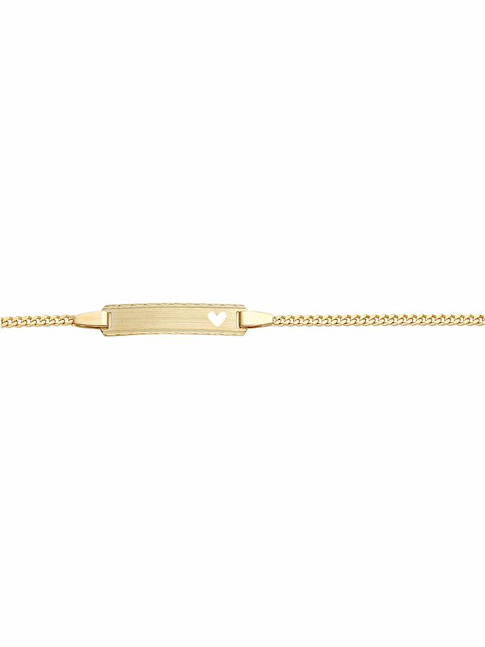 1001 Diamonds 1001 Diamonds Damen Goldschmuck 585 Gold Flach Panzer Armband 14 cm, gold