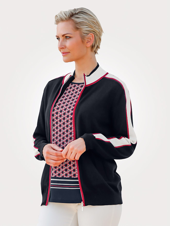 MONA Cardigan with contrasting stripes, Navy/Ecru/Red