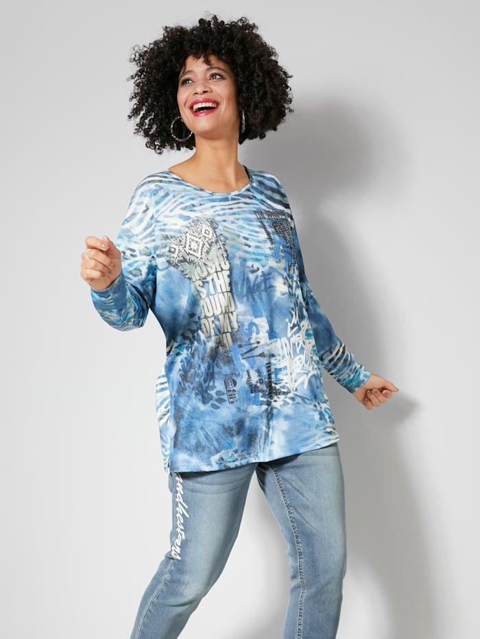 Angel of Style Feinstrickshirt mit modischem Druck, Blau