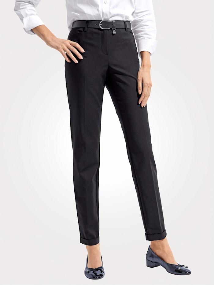 MONA Pantalon en coton mélangé estival, Noir