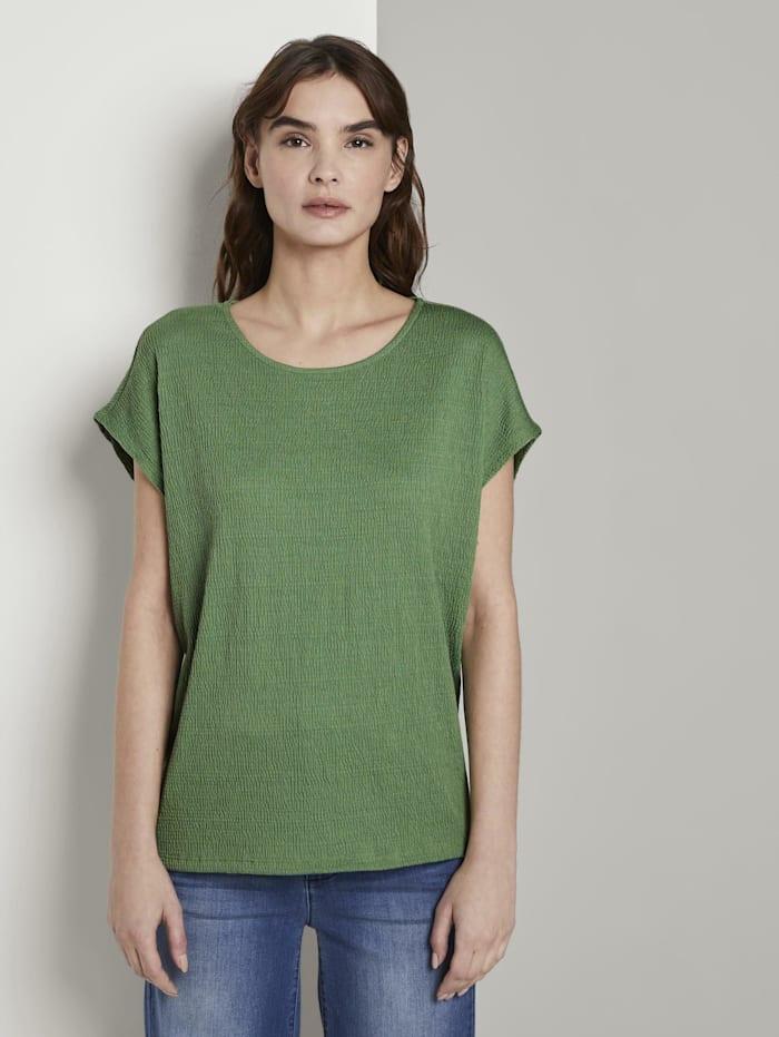 Tom Tailor T-Shirt in Crincle-Optik, sundried turf green