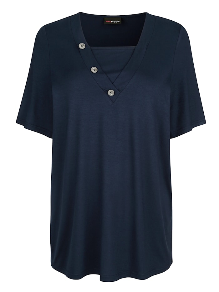 MIAMODA Shirt mit dekorativen Knöpfen am Ausschnitt, Marineblau