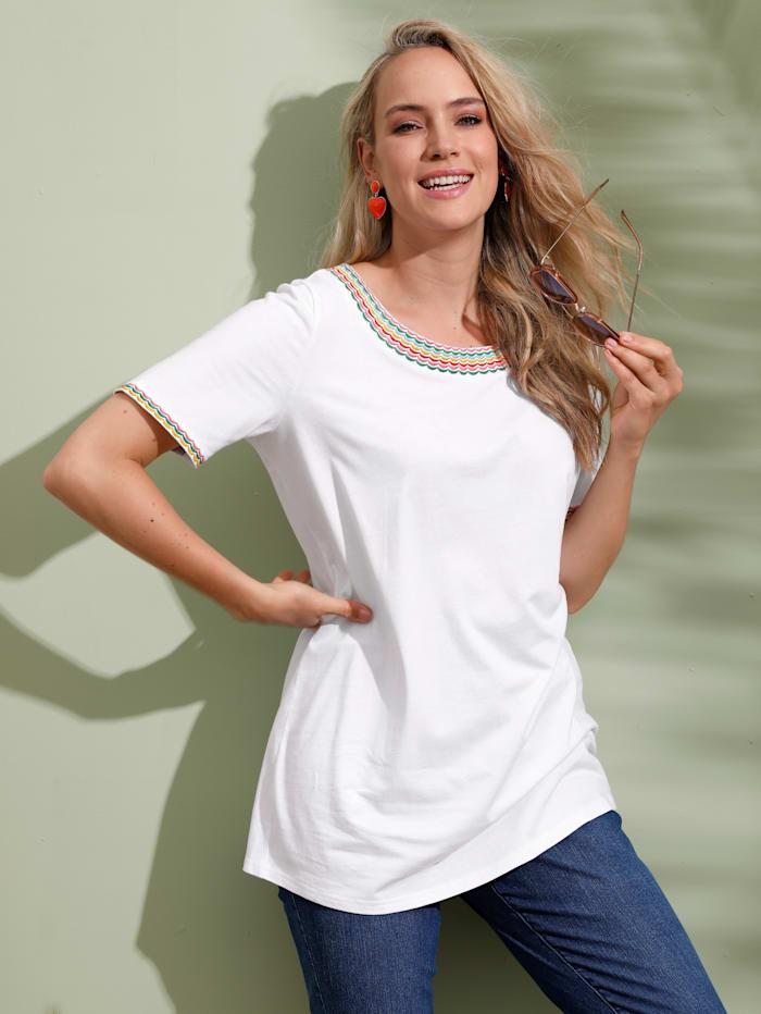 MIAMODA Shirt mit schöner Stickerei am Ausschnitt, Weiß