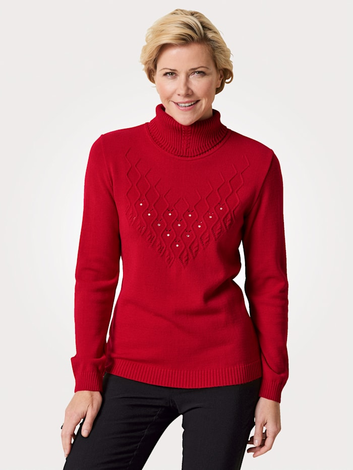 MONA Polo neck jumper with embellishments, Red