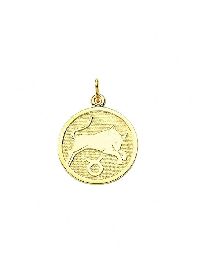 1001 Diamonds Damen & Herren Goldschmuck 333 Gold Sternzeichen Anhänger Stier Ø 16 mm, gold