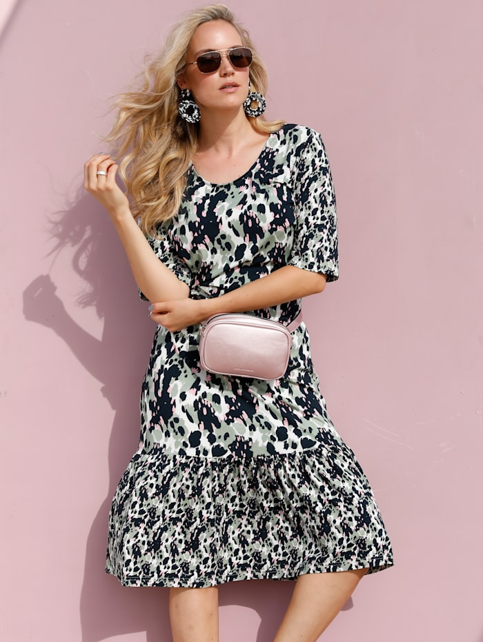 MIAMODA Šaty v módní midi délce, Zelená/Růžová/Černá/Bílá