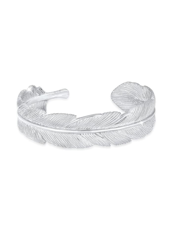 Elli Premium Armband Armreif Bangle Feder Boho 925 Sterling Silber, Silber
