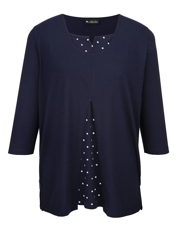 m. collection Shirt in modischer 2-in-1-Optik, Marineblau/Weiß
