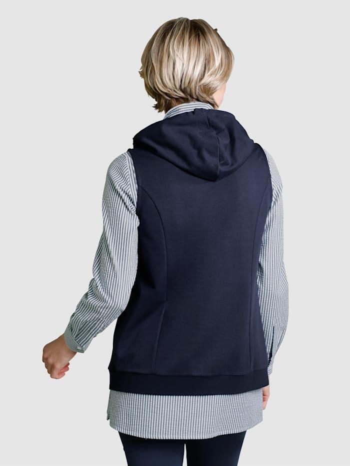 Sweatshirtväst med huva