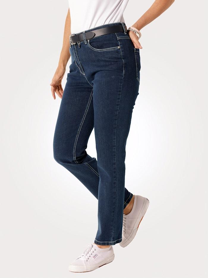 MONA Jeans van comfortabel dwarsstretchmateriaal, Donkerblauw