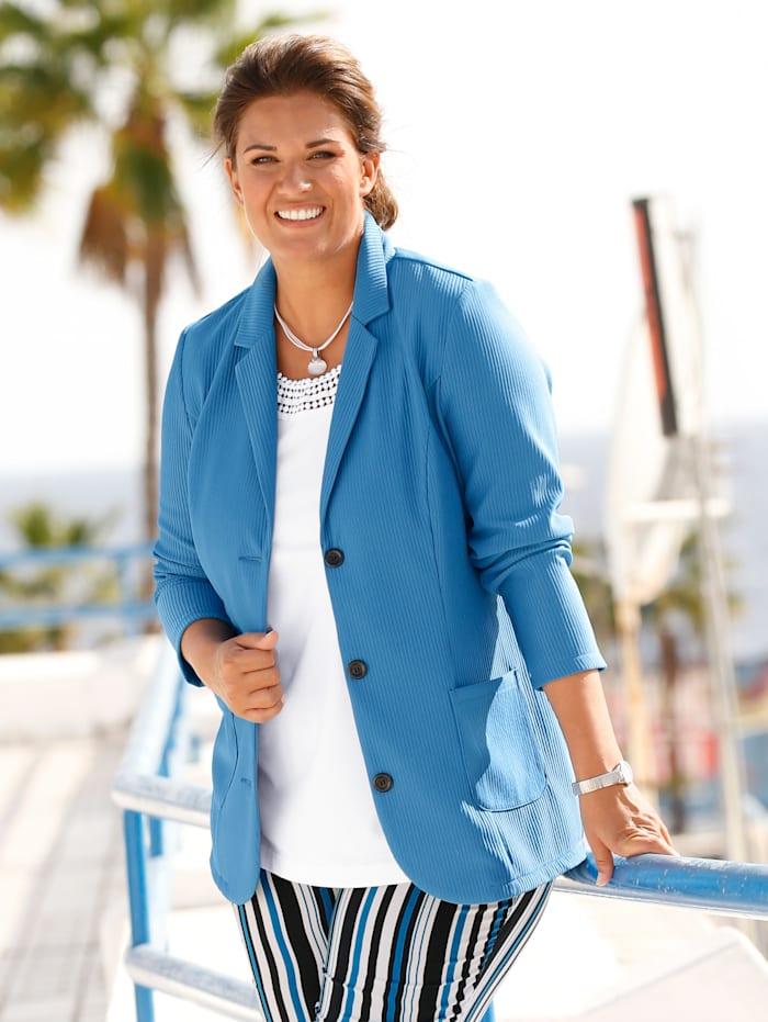 m. collection Blazer in trendy structuurlook, Blauw