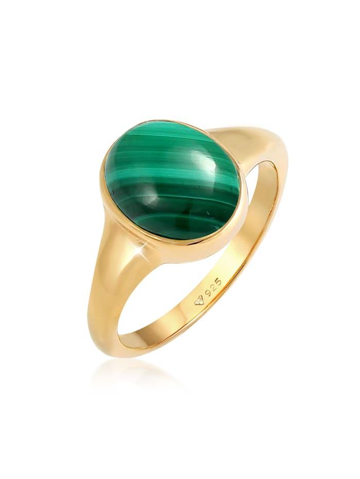 Elli Premium Ring Siegelring Oval Malachit Grün Klassik 925 Silber, Gold
