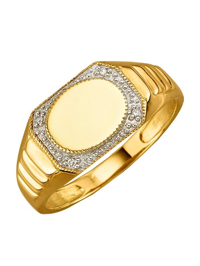 Herrenring mit Diamanten, Gelbgoldfarben