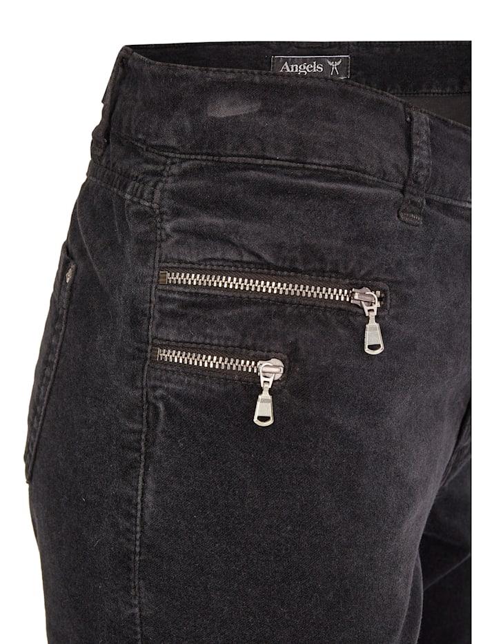 Jeans 'Malu Zip' aus samtigem Stoff