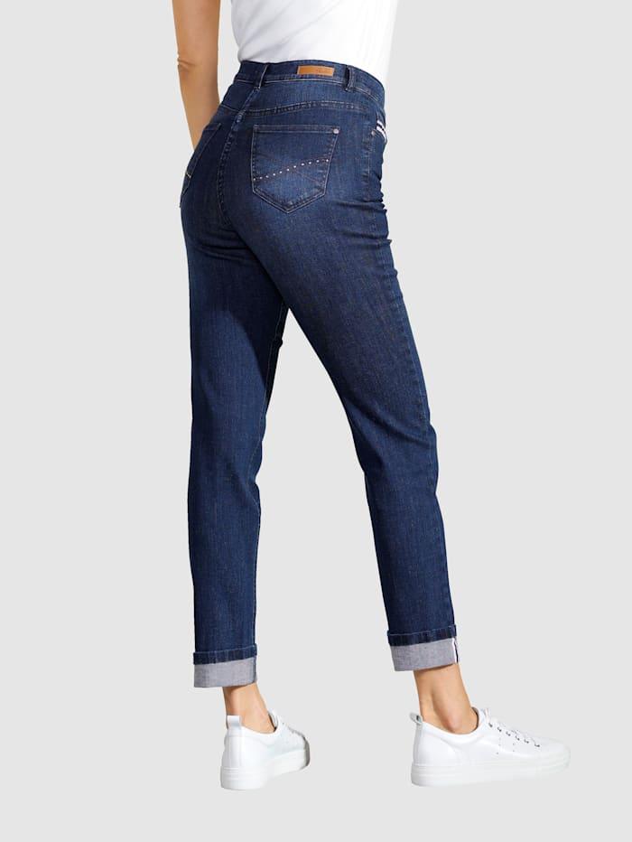 7/8 Jeans mit Hosenaufschlag und Zierband