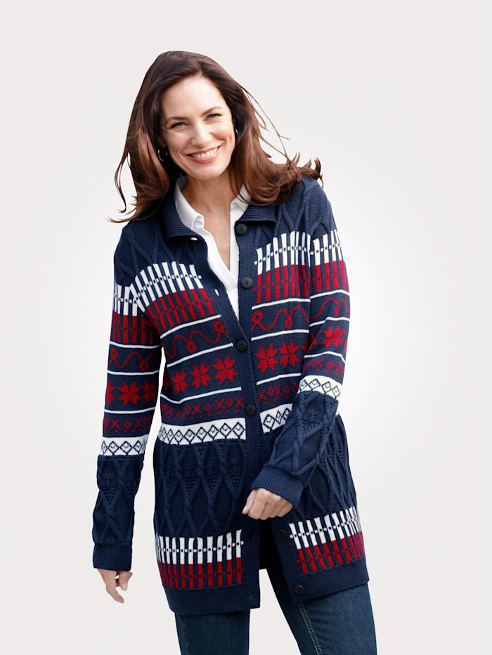 MONA Cardigan with a classic Fair Isle pattern, Blue/Red/White