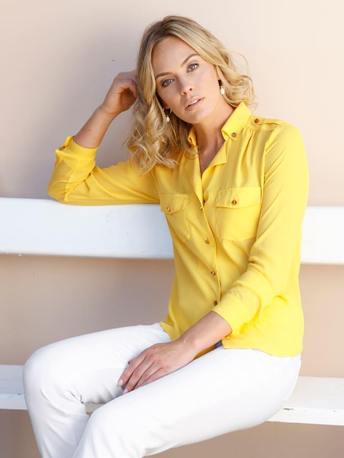 AMY VERMONT Bluse mit Brusttaschen, Gelb