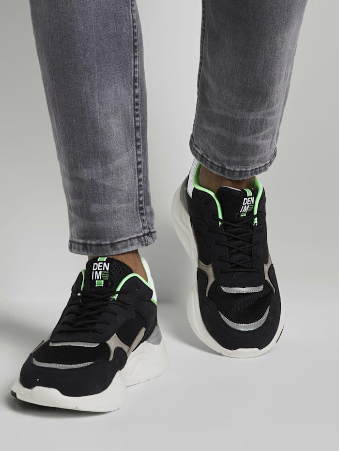 Tom Tailor Denim Sneaker mit dicker Sohle, black-lime