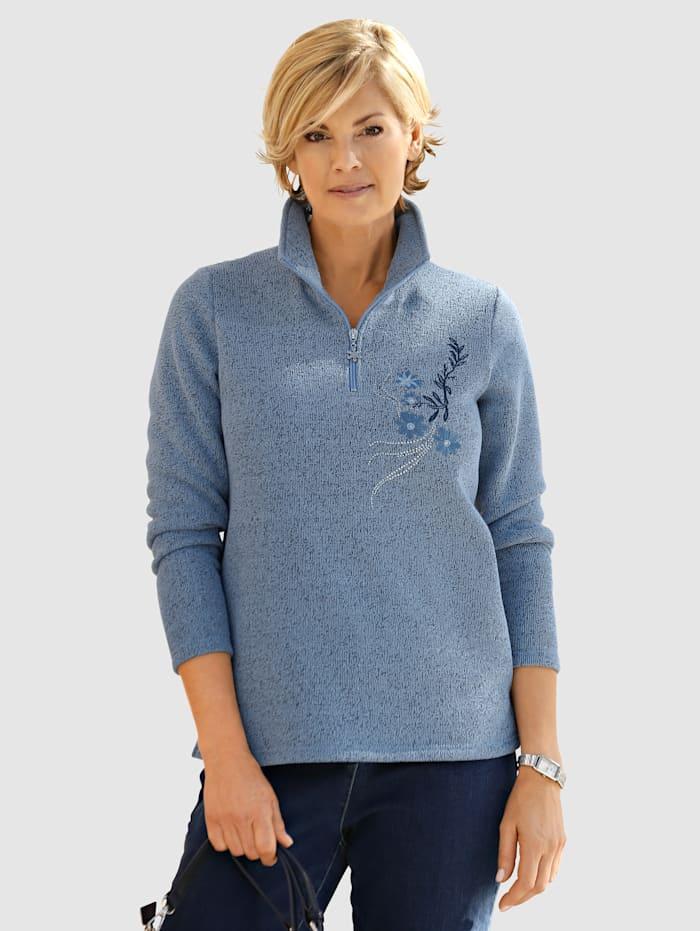 Paola Sweatshirt med krage och dragkedja, Blå