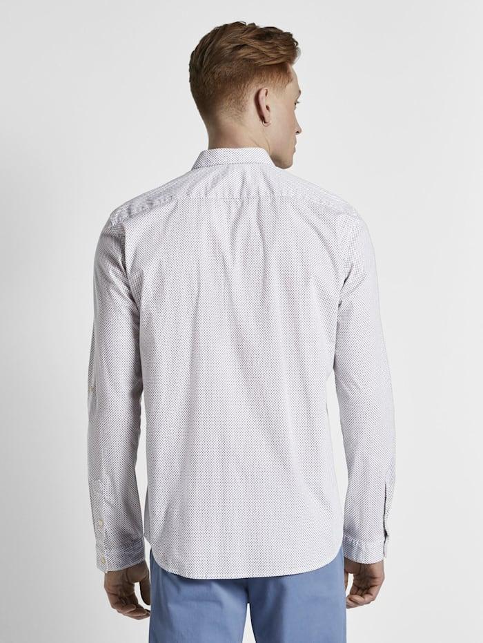 Tom Tailor Denim Gemustertes Hemd mit Turn-Ups, white oval dot minimal print