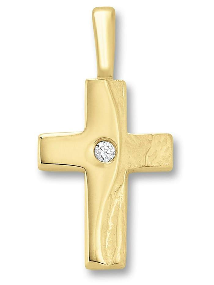 One Element Damen Schmuck Kreuz Anhänger aus 333 Gelbgold Zirkonia, gold