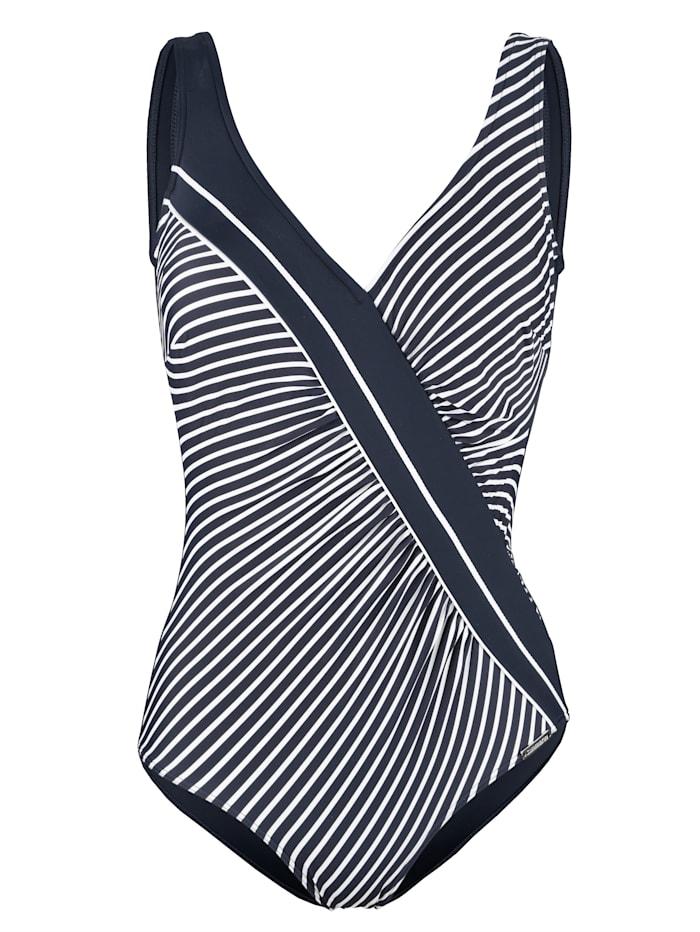 Sunmarin Badeanzug mit Zierbiese, Blau