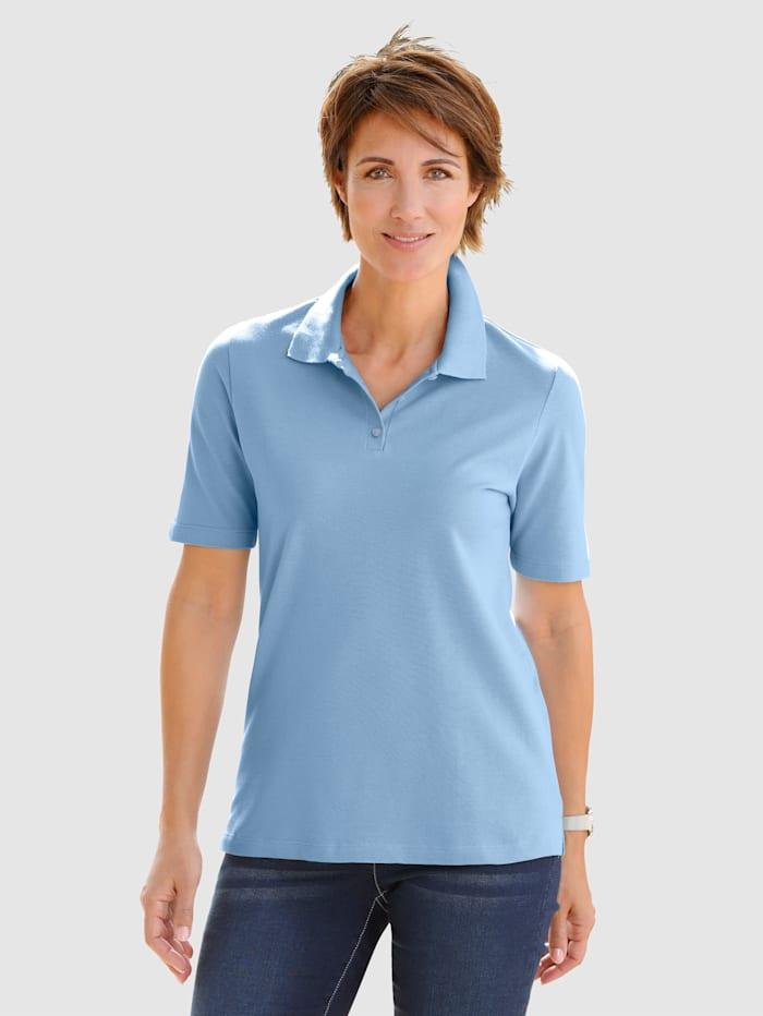 Paola Poloshirt in Piquee-Qualität, Hellblau