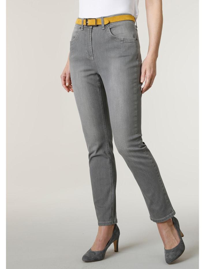 MONA Jeans mit modisch dezenter Waschung, Hellgrau