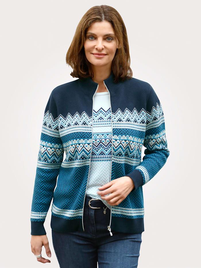 MONA Strickjacke aus reiner Baumwolle, Marineblau/Blau