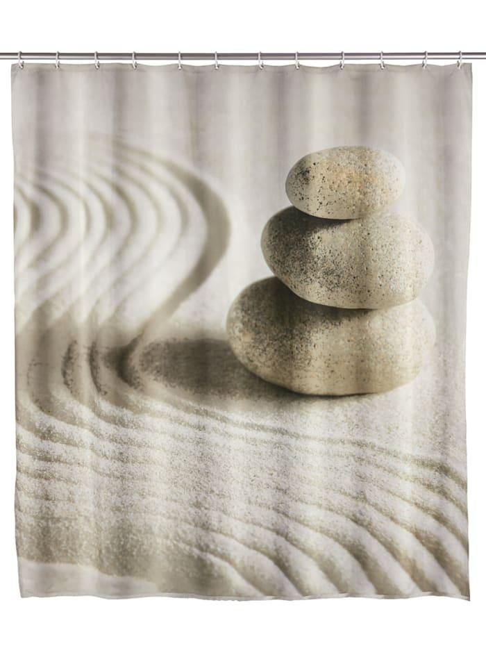 Wenko Duschvorhang Sand & Stone, Textil (Polyester), 180 x 200 cm, waschbar, Mehrfarbig