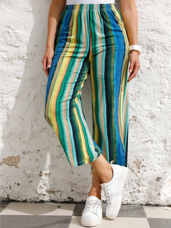 MIAMODA Jupe-culotte à ceinture extensible, Jaune/Bleu/Vert