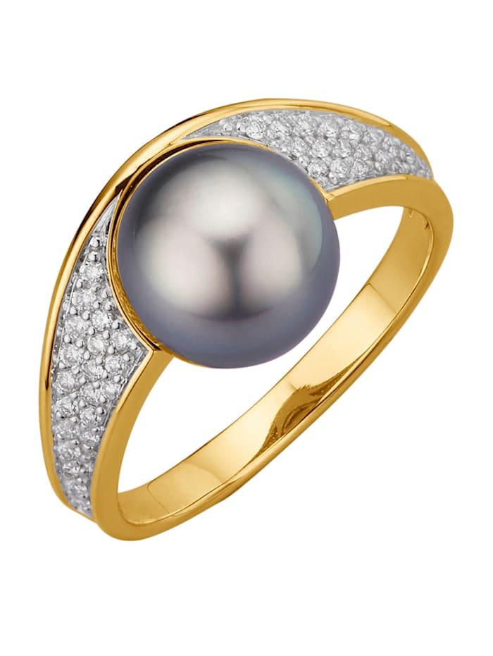 Diemer Perle Damenring, Grau