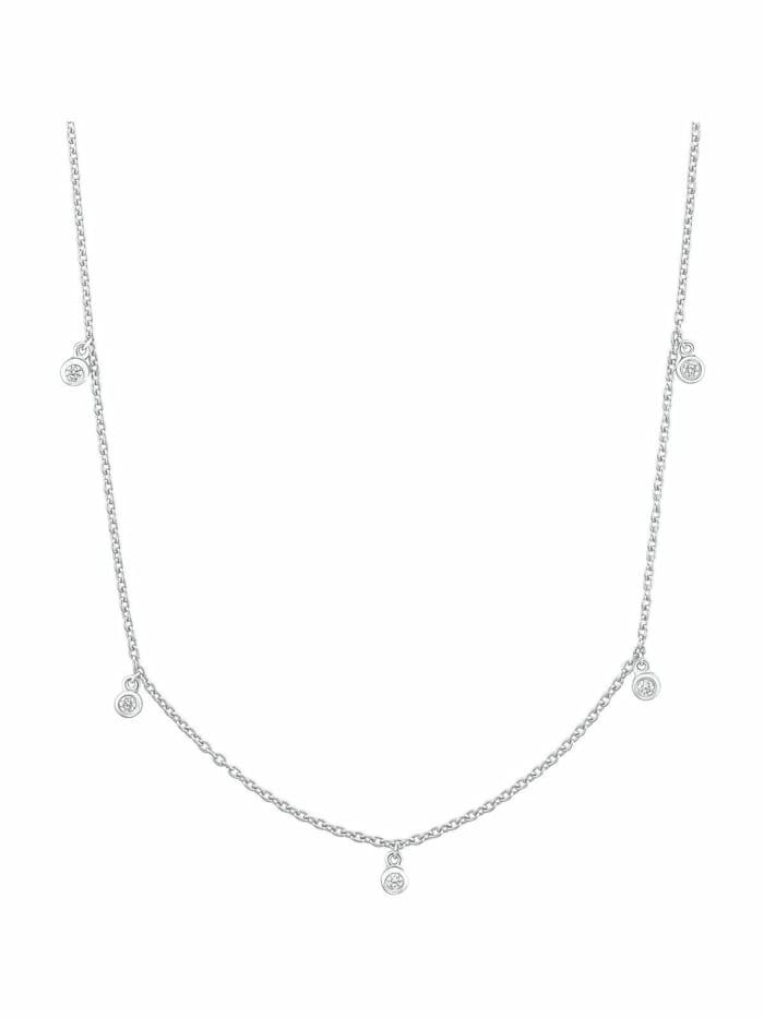 s.Oliver Kette mit Anhänger für Damen, Sterling Silber 925, Zirkonia, Silber