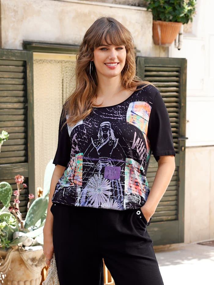 MIAMODA Shirt mit dekorativem Druck, Schwarz/Multicolor